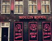 Sale Print - 8x10 Red Light District Photo - Moulin Rouge, Red, Pink and Black - Burlesque Amsterdam, Women, Nude - Hearts, Pinup, Sensual