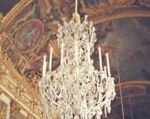 Paris Chandelier - 8x10 France Photo - Versailles - Treasure - Candle Chandelier - Marie Antoinette - Royal Blue, Gold, Crystals, Diamonds