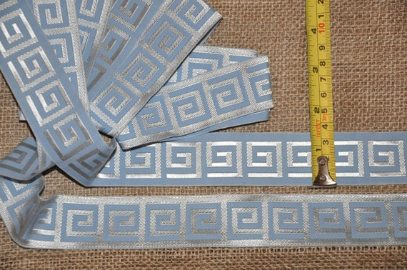 6 yds Ancient Greek key pattern ribbon trim, SKY BLUE color, 1 7/12 inch wide