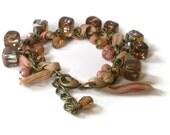 ribbon bracelet, vintage inspired, boho chic, pink, silk ribbon, cluster bracelet