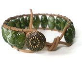 green beaded wrap bracelet, leather, chan luu style, boho wrap, marbled glass beads