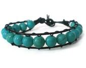 turquoise beaded wrap bracelet, gemstone leather cuff, unisex cuff, rocker, boho single wrap, stacking bracelet