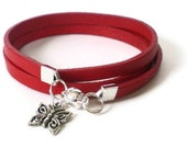 red leather wrap bracelet, silver butterfly charm , boho style, red leather cord, unisex, rocker style