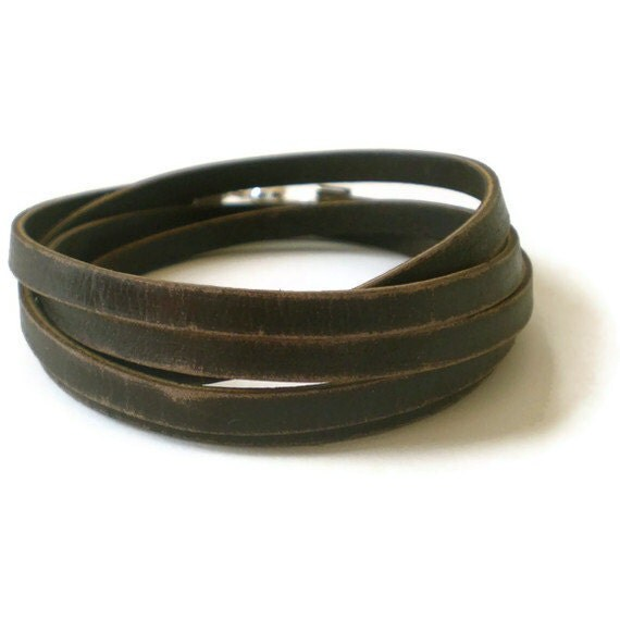 brown leather wrap bracelet unisex distressed by jcudesigns