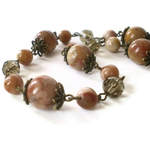 beaded necklace, agate beads, vintage inspired, gemstone, brown, antique brass, boho chic jewelry
