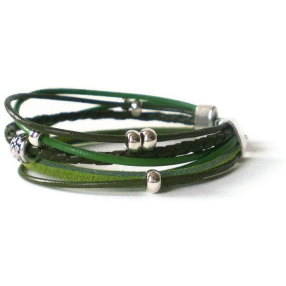 green leather wrap bracelet, silver beads, boho bracelet, single wrap bracelet