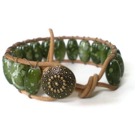 green beaded wrap bracelet, leather, chan luu style, boho wrap, marbled glass beads