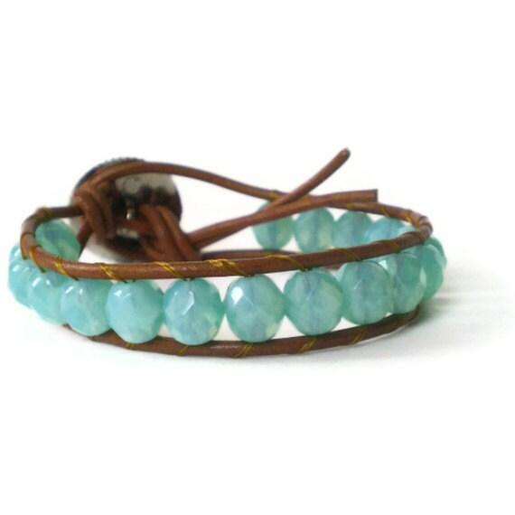 leather beaded wrap bracelet, pale blue opal glass, boho, single wrap, natural leather, surfer, beach