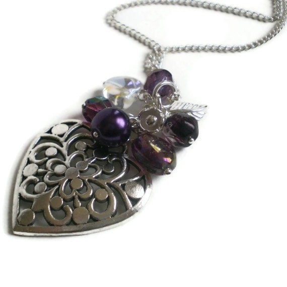 purple beaded heart necklace, silver pendant, boho chic, bead cluster, vintage style