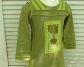 Spring Green Longsleeve Dress/Tunic, Turnip Silkscreen Print, Upcycled/Recycled Cotton, Size 3 Years