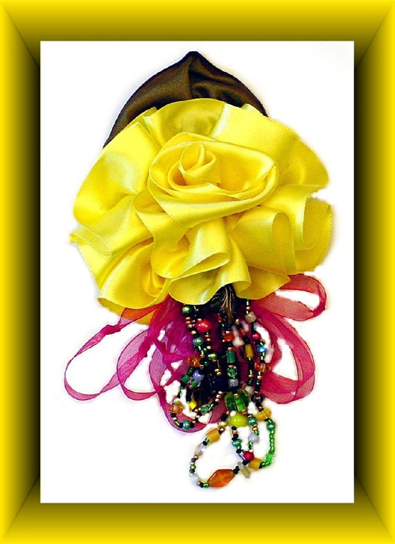 Corsages for Prom, Wedding Corsage, Ribbon Flower Pin, Yellow Ribbon Rose, Beaded, Brooch