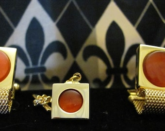 Cufflinks & Tie tack Men's set of Carnelian color Stone goldtone
