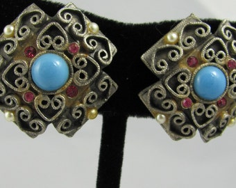 Silver Art Deco style earrings with turquoise, pearl and ruby