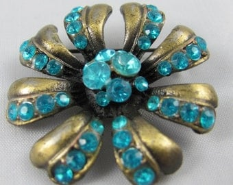 Vintage Blue Rhinestone Flower  shaped Brooch, Bright and Vibrant Color