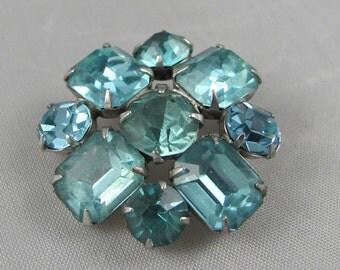 Vintage Aqua Blue Rhinestone Cross brooch Pin Classic Fashion Style Springtime Color