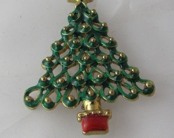 Holiday Christmas Tree with Enamel on a Vintage Brooch pin