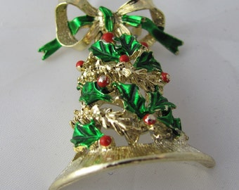 Holiday Holly Bell Cheerful Vintage Brooch with green and red enamel