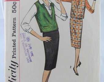 Simplicity Dress Pattern 2734 size 12 vintage sewing 1960s retro mad men vest & skirt classic style mid century modern chic pencil skirt