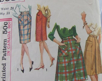Simplicity Skirt Pattern 5084 wrap around pencil skirt retro mad men style mid century modern 1960s vintage chic fashion