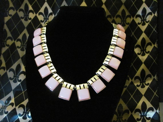 VIntage Thermaset Pink style Stones Necklace Mid century modern mad men gift art deco coro lisner