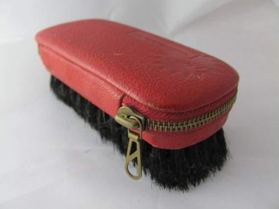 Vintage Mens Grooming Kit from Germany red leather Mad men scissors nail file shoe horn brush mid century modern gift