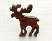 Standing Moose Pin - Laser Cut Walnut