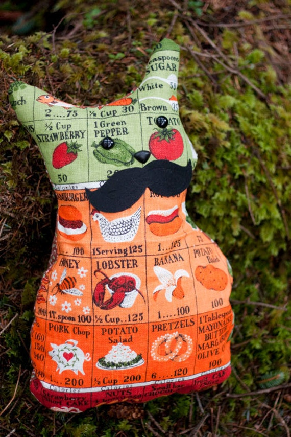 Garibaldi - Mustache  Whimsy Stuffed Cat Decorative Pillow Made From Vintage Calorie Count Tea Towel