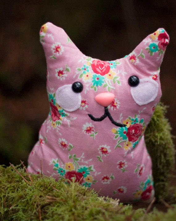 Florence - Cotton Candy Pink Plush Whimsy Kitten Floral Pattern