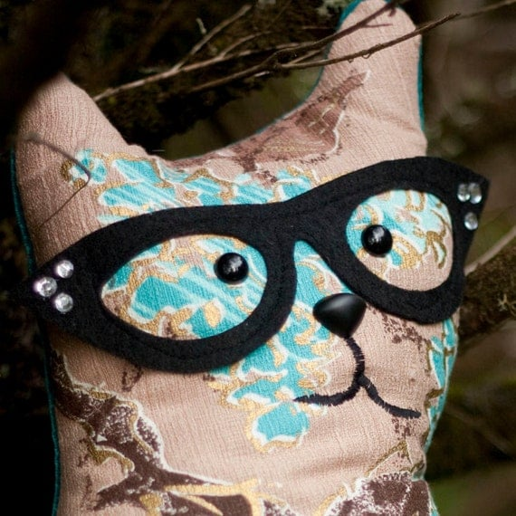 Agate - Quirky  Whimsy Stuffed Cat  With Cat Eye Glasses Made From Vintage Barkcloth - A  Decorative Pillow