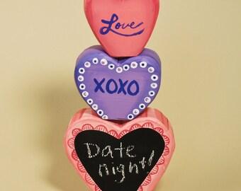 Valentine Wood Chalkboard Hearts Handpainted