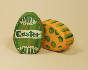 Wooden Easter Egg Decorations for Shelf or Desk