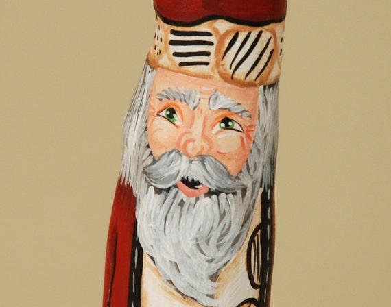Cypress Knee Santa Wood Handpainted Collectable