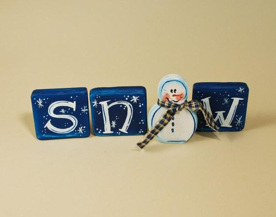 Snowman Wood Blocks SNOW Shelf Sitter