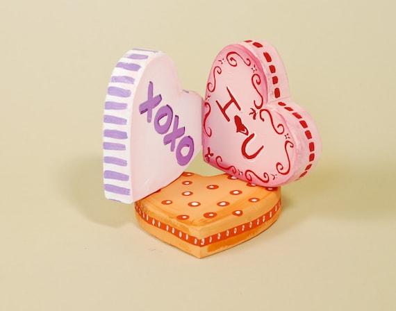 Wood Conversation Hearts Valentines Day Decoration