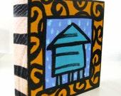 Blue Water Tower  4x4 Art Block Painting
