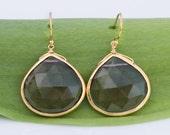 8K Gold Vermeil bezel set Natural Smokey Quartz drop earrings