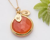 Carnelian bezel Necklace - Personalized necklace - Custom Initial Necklace - Gold Necklace - Personalized Jewelry - Great Gift Idea