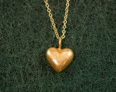 18K Vermeil Heart Charm Necklace in 14K gold filled Chain -