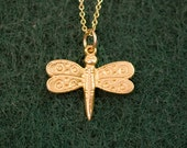 18K Vermeil Butterfly Charm Necklace in 14K gold filled Chain -