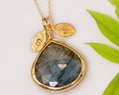 Labradorite bezel Necklace - Personalized necklace - Gold Necklace - Personalized Jewelry - Custom Necklace Gold Initial