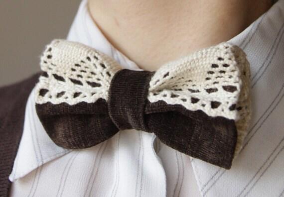 Dark Brown Lace Botun Bow tie