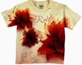 Girls T-Shirt, Personalized Red Watercolor Flowers, Childens Clothing