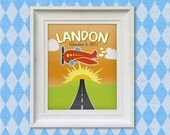 Chidrens Wall Art - Airplane 8x10 Personalized, Print, Baby Room Decor