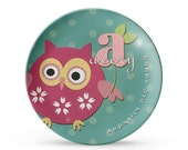 Personalized Plate, Personalized Owl Plate,  Aqua Childrens Melamine Dinner Plate, Birthday Cake Plate