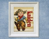 Childrens Art Print - Personalized Cowboy 8x10 Baby Room Western Decor