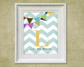 Children's Art Print - Chevron Banner  - 8x10 Personalized Baby Room Decor