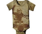 Gorilla Baby Bodysuit, Personalized Drum Set Infant Boy Snapsuit, Baby Boy Clothing, Onepiece