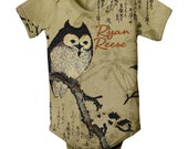 Brown Owl Onesie, Personalized Infant Owl, Baby Clothing - SimplySublimeBaby