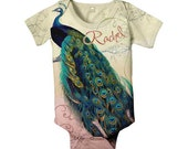 Peacock Baby Girl Bodysuit, Personalized Girl Infant Romper One-Piece