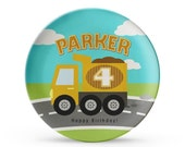 Personalized Plate, Personalized Dump Truck Plate, Child's Construction Birthday, Cake Plate, Melamine Dish
